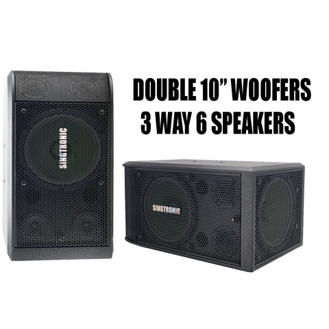 "Singtronic KS-2000 Professional 3000W Vocalist Karaoke Speaker System (Pair) Newest: 2021 Super Tweeters & Double 10"" Woofer"