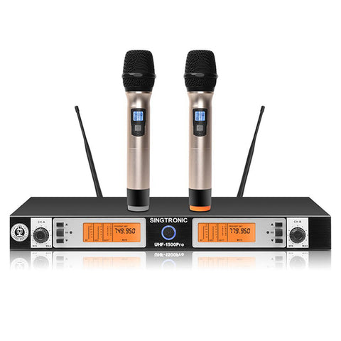 Singtronic UHF-1500Pro Professional Digital True Diversity Dual Wireless Microphone Karaoke System Newest Model: 2021 Pro Series