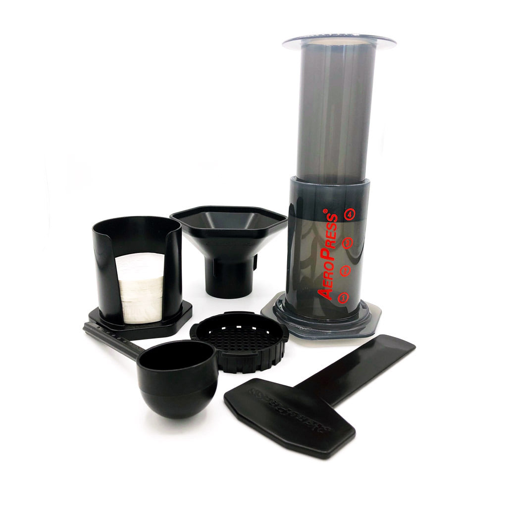 aeropress coffee maker kit with scoop, funnel, paper filters with holder, and stirrer at lambertville trading company