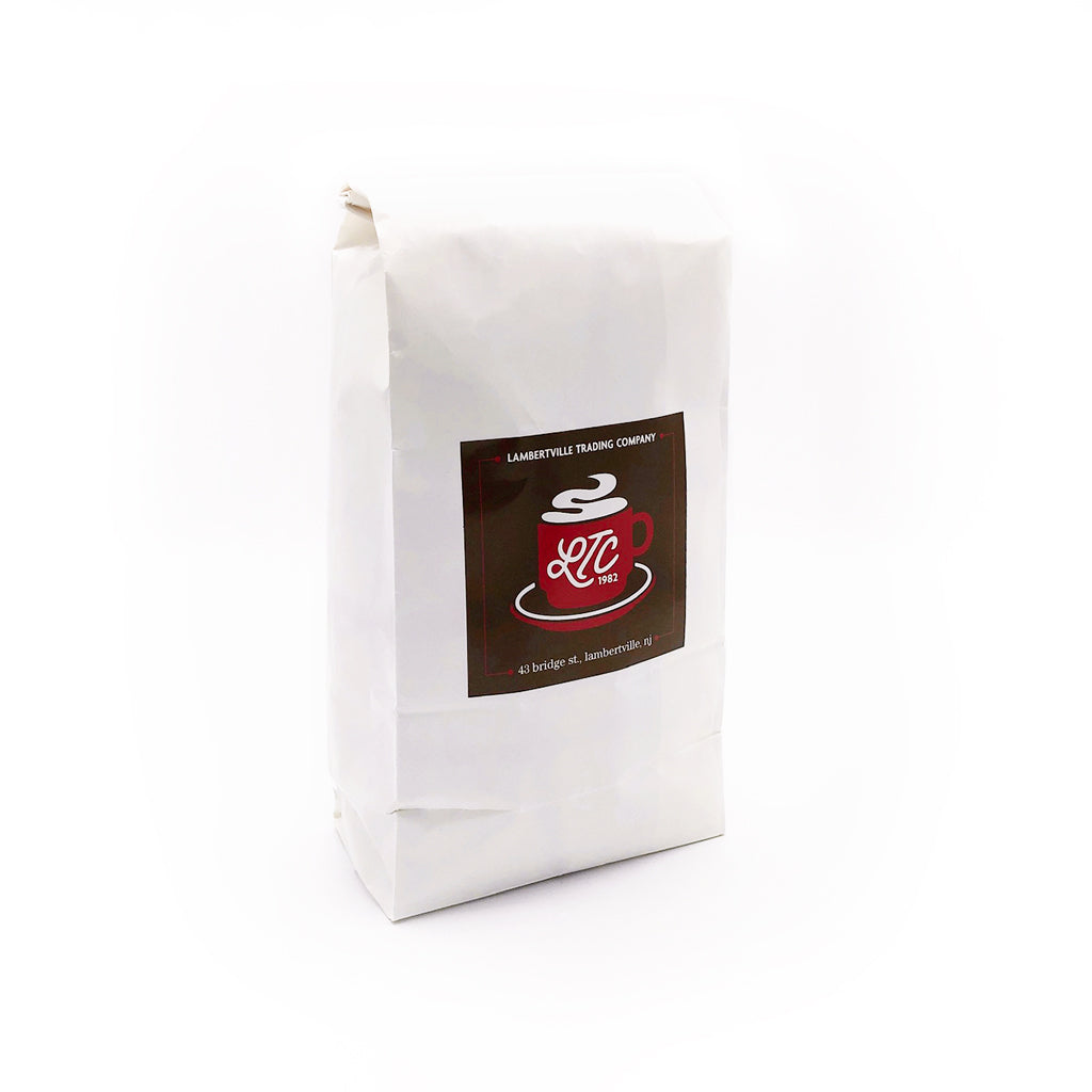 Bag of Broadway Blend Decaf coffee at Lambertville Trading Company