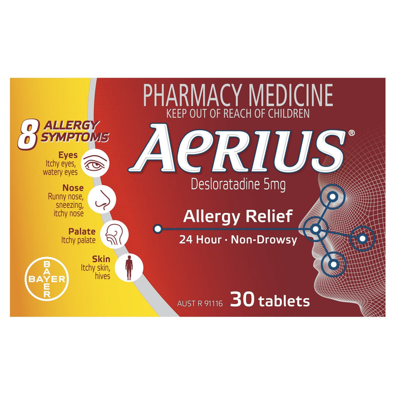 Aerius 24 Hour Non Drowsy Allergy Relief Antihistamine Tablets 30 Pack - Vital Pharmacy Supplies