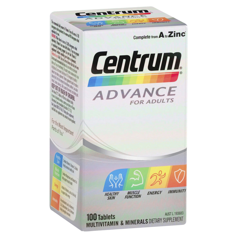 Centrum Advance For Adults Tablets 100 Tablets - Vital Pharmacy Supplies