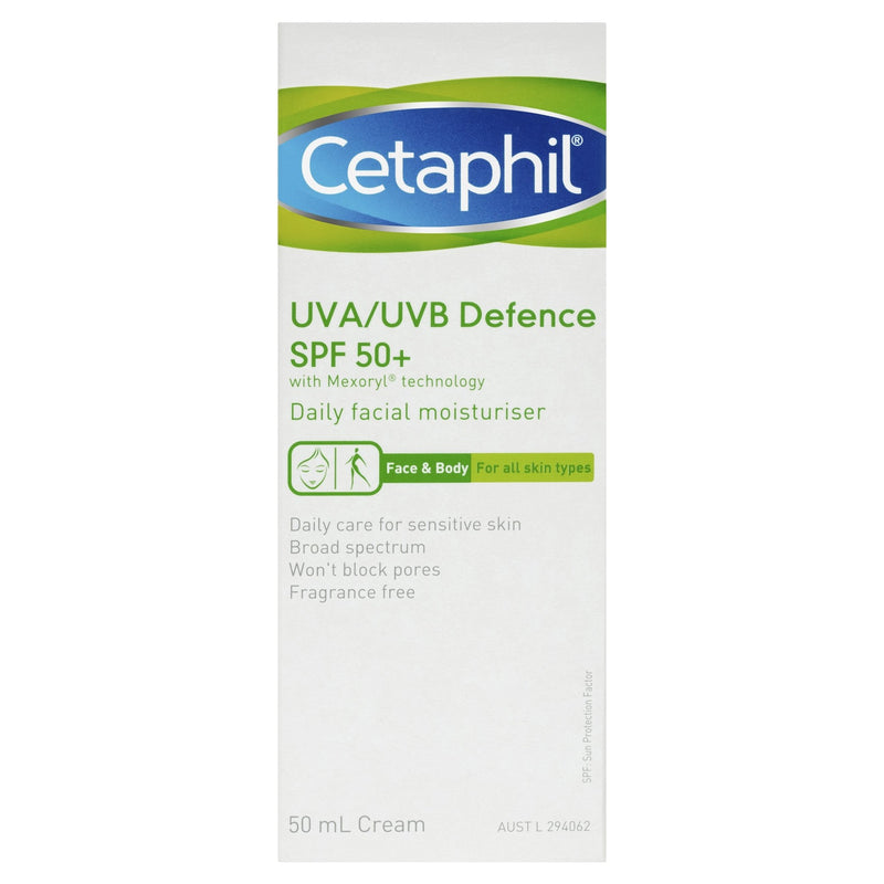 Cetaphil UVA/UVB Defence SPF 50+ 50mL - Vital Pharmacy Supplies