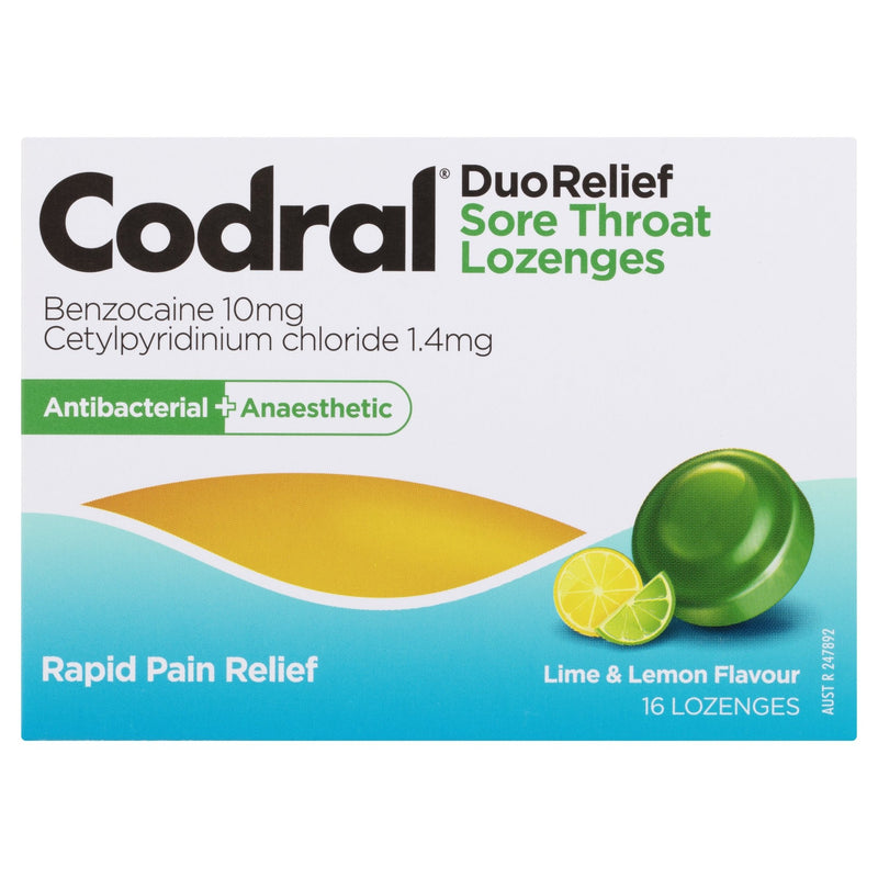 Codral Duo Relief Sore Throat Lozenges Antibacterial + Anaesthetic Lime & Lemon 16 Pack - Vital Pharmacy Supplies