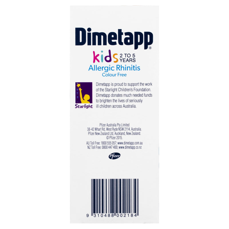 Dimetapp Allergic Rhinitis and Colour Free Variant 200mL - Vital Pharmacy Supplies