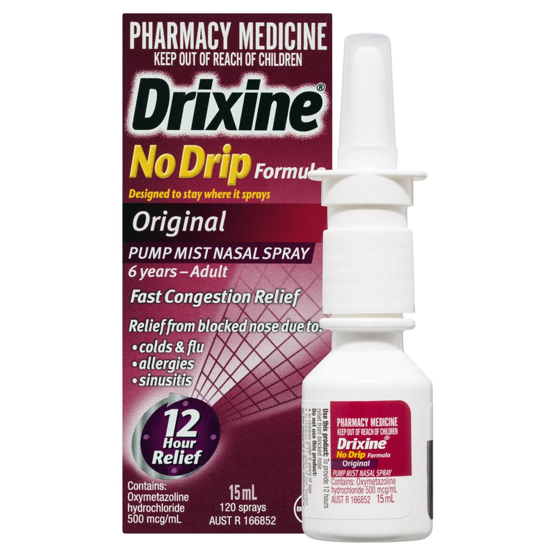 Drixine 12 Hour Relief No Drip Original Nasal Spray 15mL - Vital Pharmacy Supplies