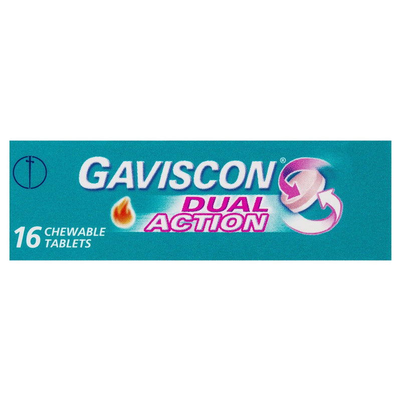Gaviscon Dual Action Chewable Tablets Peppermint Heartburn & Indigestion Relief 16 Pack - Vital Pharmacy Supplies