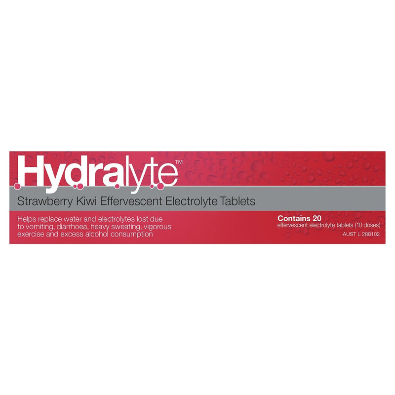 Hydralyte Strawberry Kiwi Effervescent Electrolyte Tablets 20 Tablets - Vital Pharmacy Supplies