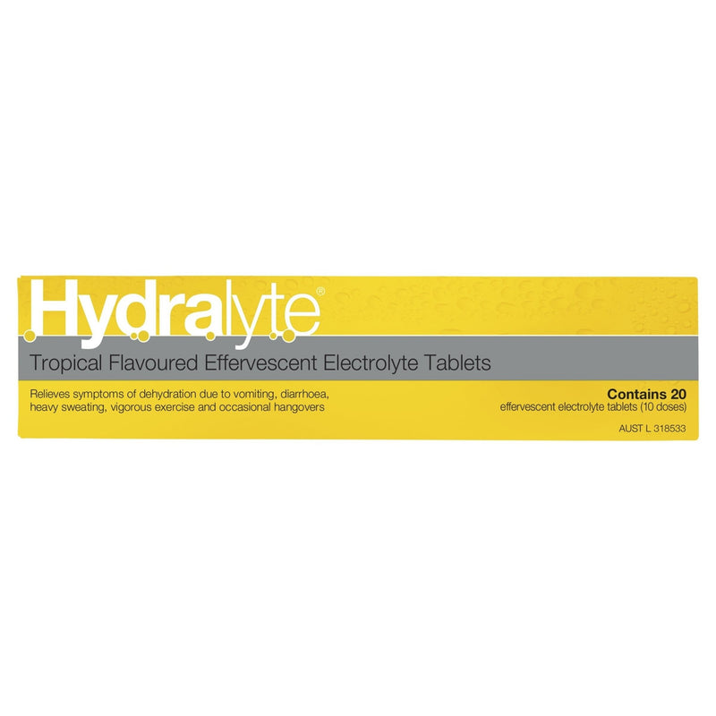 Hydralyte Tropical Effervescent Electrolyte Tablets 20 Tablets - Vital Pharmacy Supplies