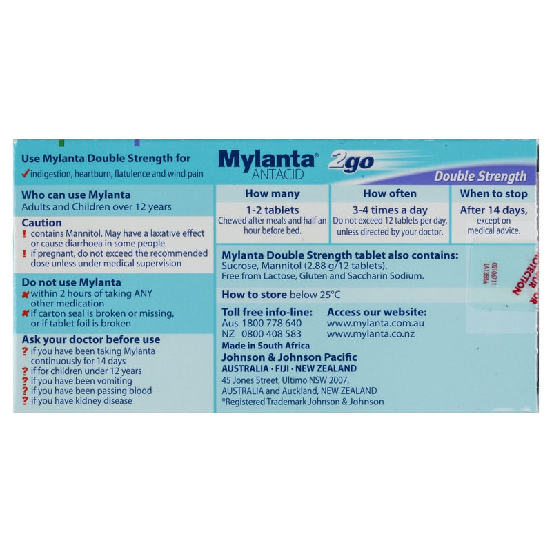 Mylanta 2go Antacid 24 Tablets - Vital Pharmacy Supplies