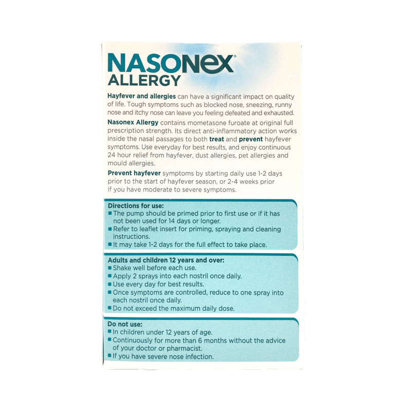 Nasonex Allergy Nasal Spray 140 Metered Spray Twin Pack - Vital Pharmacy Supplies