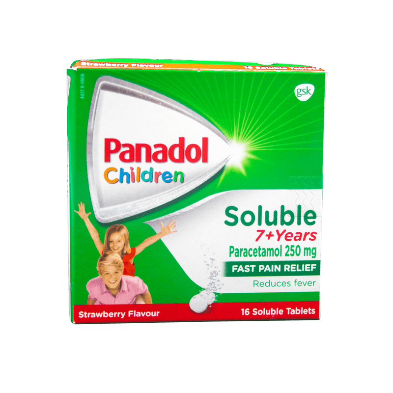 Panadol Soluble 7+ Strawberry 16 Soluble Tablets - Vital Pharmacy Supplies