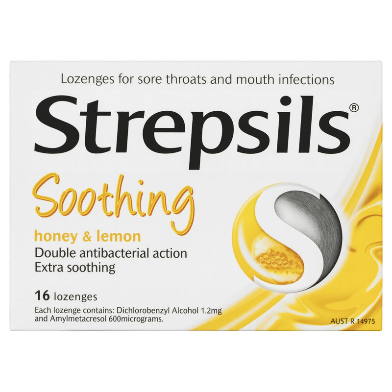 Strepsils Double Antibacterial Soothing Sore Throat Lozenges Honey and Lemon 16pk - Vital Pharmacy Supplies