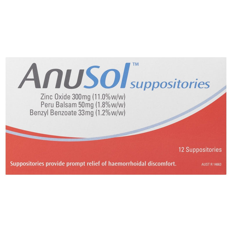Anusol Suppositories 12 Pack - Vital Pharmacy Supplies