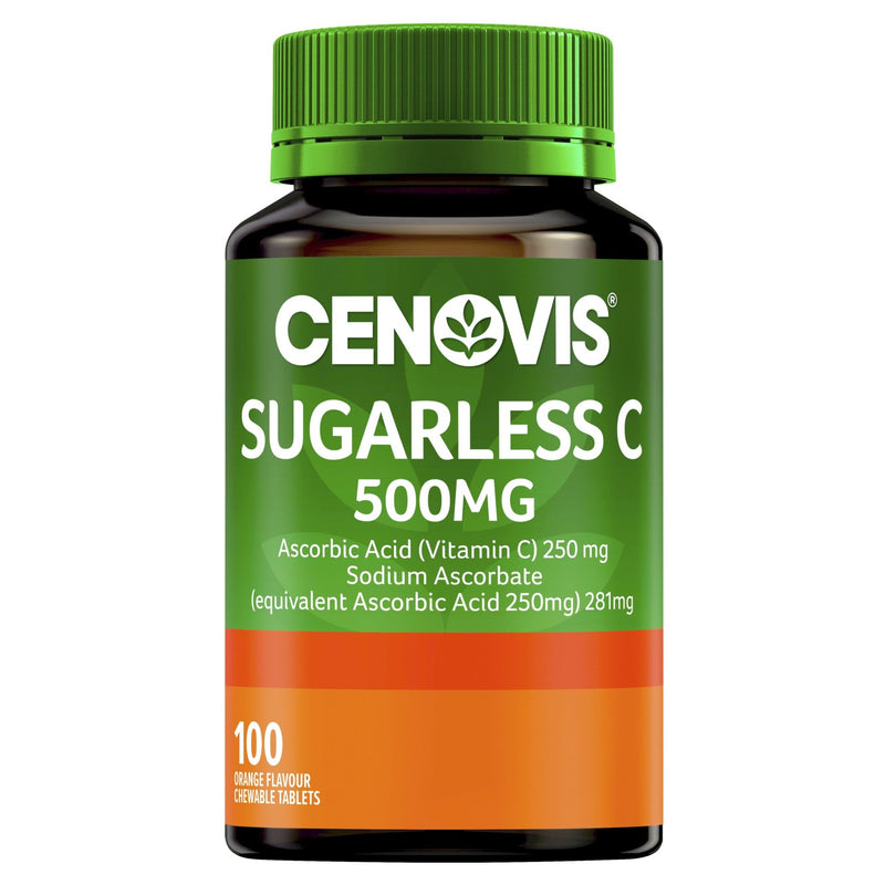 Cenovis Sugarless C 500MG Chewable Tablets 100 Tablets - Vital Pharmacy Supplies