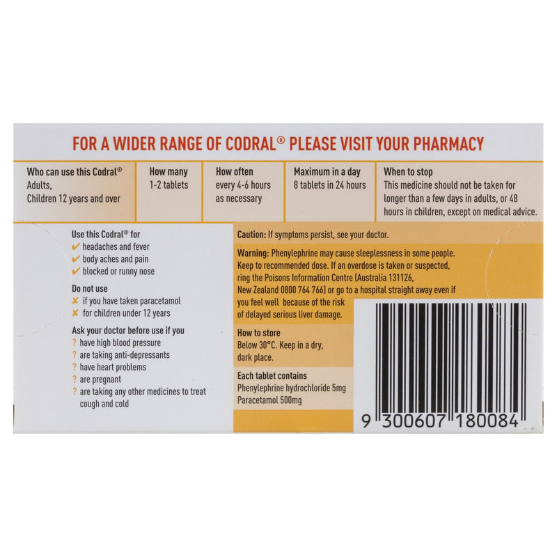 Codral Cold & Flu 20 Tablets - Vital Pharmacy Supplies