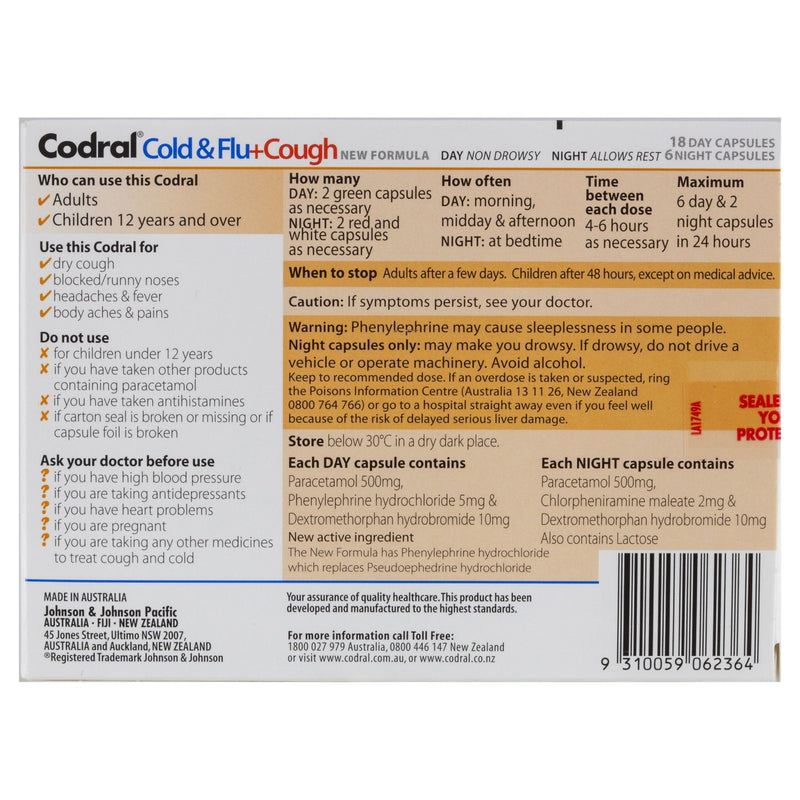 CODRAL Cold & Flu + Cough 24 Capsules - Vital Pharmacy Supplies
