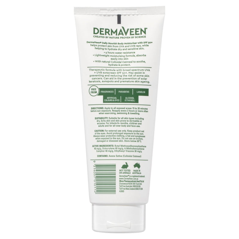 DermaVeen Daily Nourish Body Moisturiser SPF 50+ 200g - Vital Pharmacy Supplies
