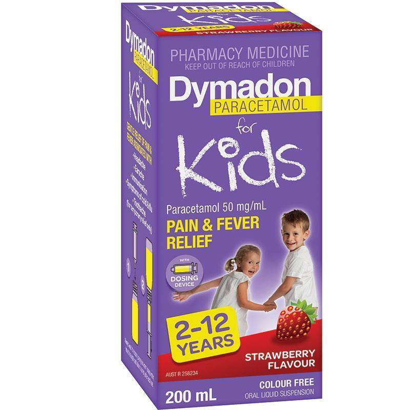 Dymadon for Kids 2-12 Years Strawberry 200mL - Vital Pharmacy Supplies