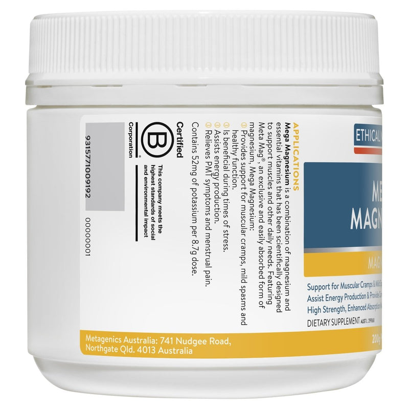 Ethical Nutrients Megazorb Mega Magnesium Powder Citrus 200g - Vital Pharmacy Supplies