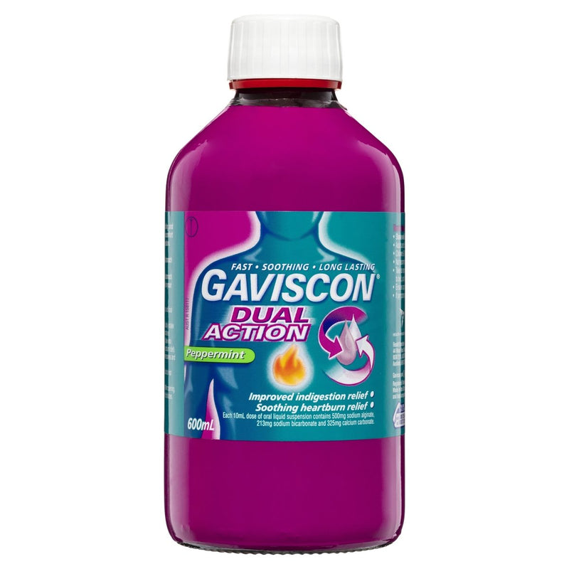 Gaviscon Dual Action Heartburn & Indigestion Relief Liquid Peppermint 600mL - Vital Pharmacy Supplies