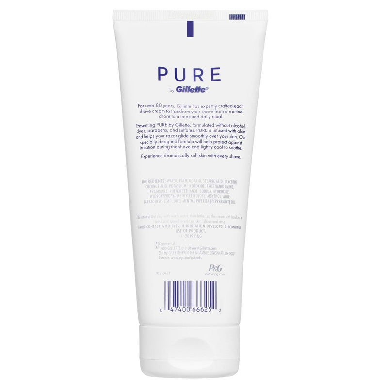 Gillette Pure Shaving Cream 177mL - Vital Pharmacy Supplies