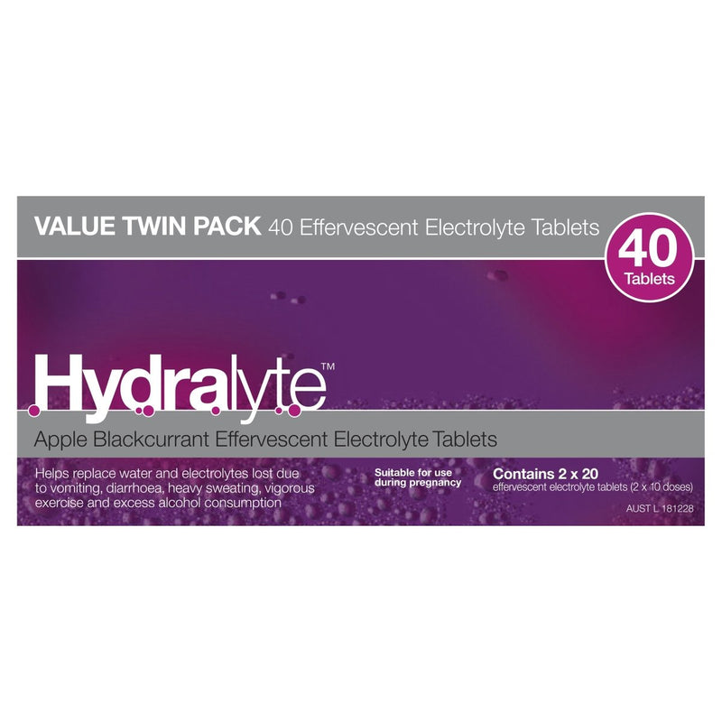 Hydralyte Apple Blackcurrant Effervescent Electrolyte 40 Tablets - Vital Pharmacy Supplies