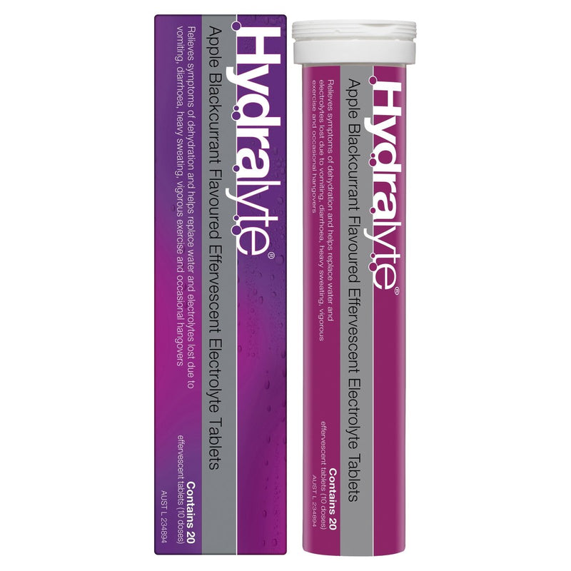 Hydralyte Apple Blackcurrant Effervescent Electrolyte Tablets 20 Tablets - Vital Pharmacy Supplies