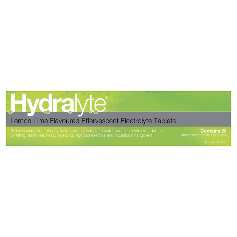 Hydralyte Lemon Lime Effervescent Electrolyte Tablets 20 Tablets - Vital Pharmacy Supplies