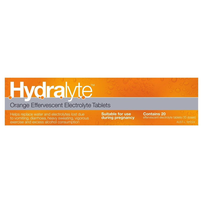 Hydralyte Orange Effervescent Electrolyte Tablets 20 Tablets - Vital Pharmacy Supplies