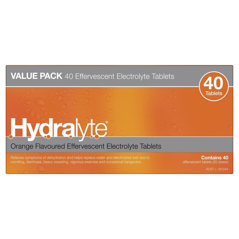 Hydralyte Orange Effervescent Electrolyte Tablets 40 Tablets - Vital Pharmacy Supplies