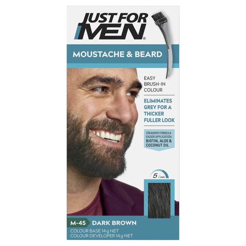 Just For Men Moustache & Beard Brush-In Colour Gel Dark Brown - Vital Pharmacy Supplies