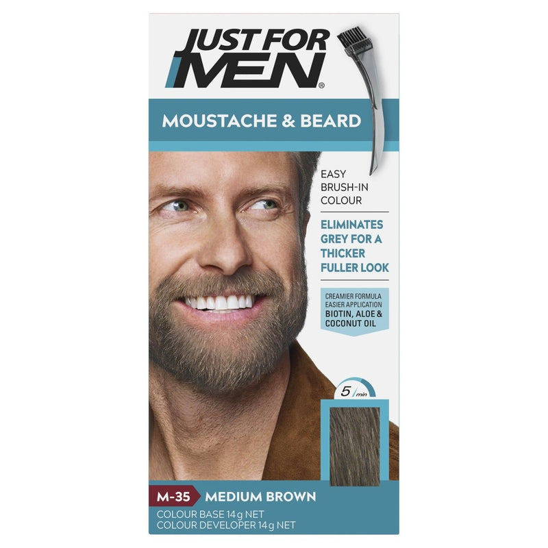 Just For Men Moustache & Beard Brush-In Colour Gel Medium Brown - Vital Pharmacy Supplies