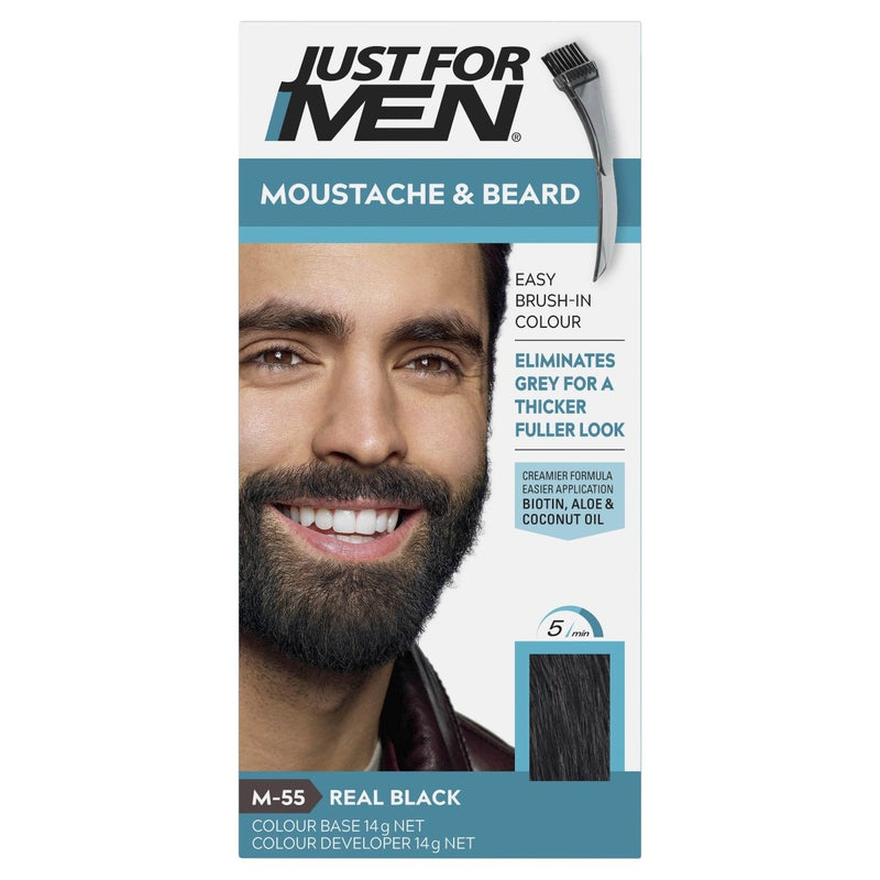 Just For Men Moustache & Beard Brush-In Colour Gel Real Black - Vital Pharmacy Supplies