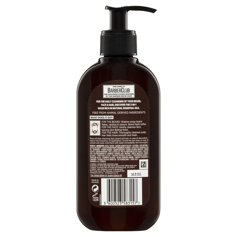 L'Oréal Paris Men Expert Barber Club 3-in-1 Beard + Face + Hair Wash - Vital Pharmacy Supplies