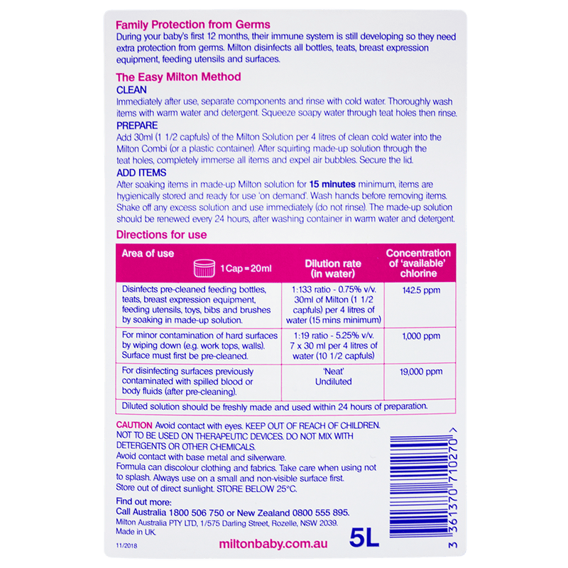 Milton Antibacterial Solution 5L - Vital Pharmacy Supplies