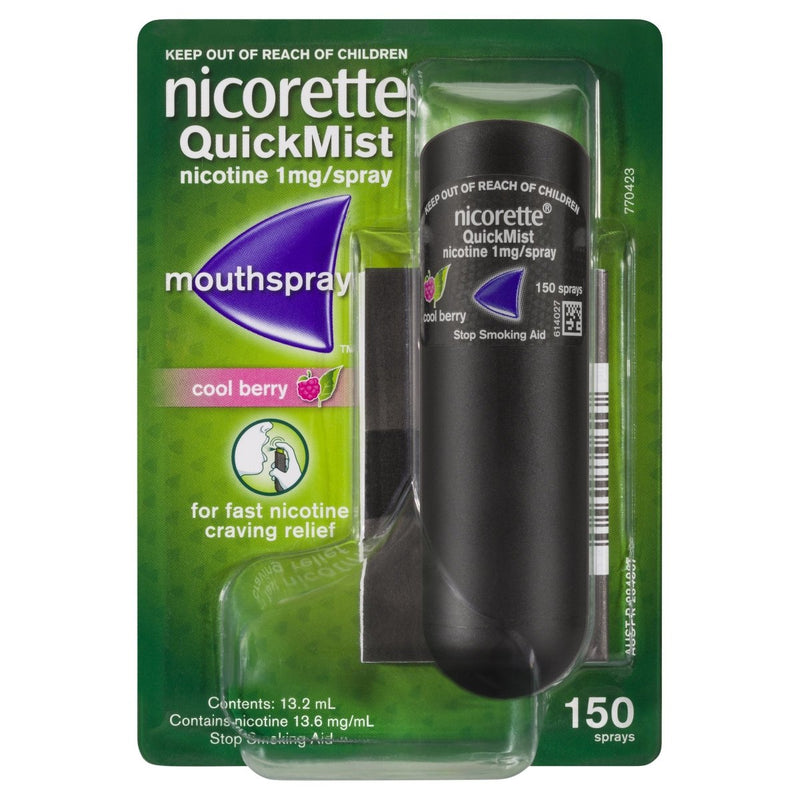 Nicorette Quit Smoking Mouth Spray Cool Berry 150 Pack - Vital Pharmacy Supplies
