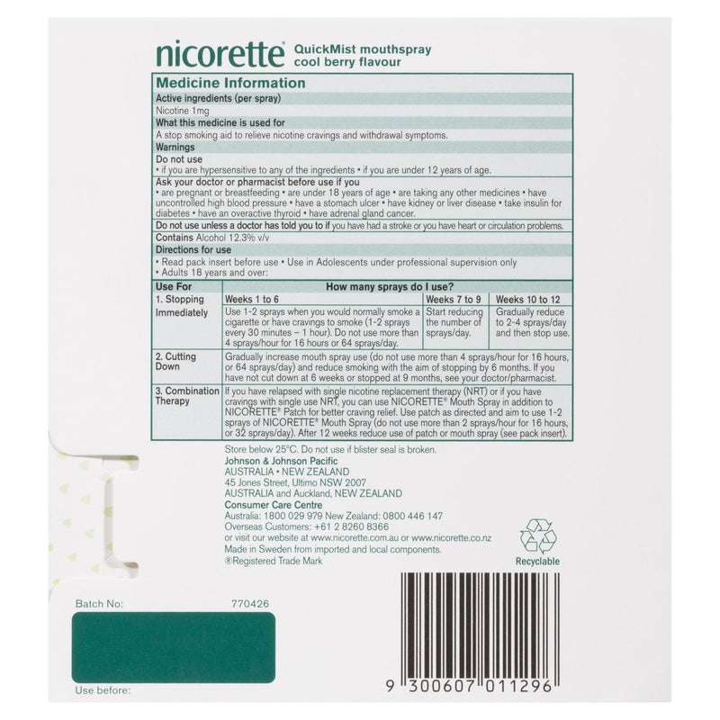 Nicorette Quit Smoking Mouth Spray Cool Berry 2X150 Pack - Vital Pharmacy Supplies