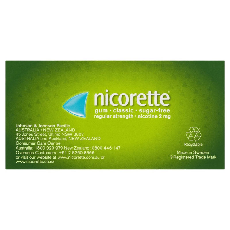 Nicorette Quit Smoking Nicotine Gum Classic 2mg 105 Pack - Vital Pharmacy Supplies