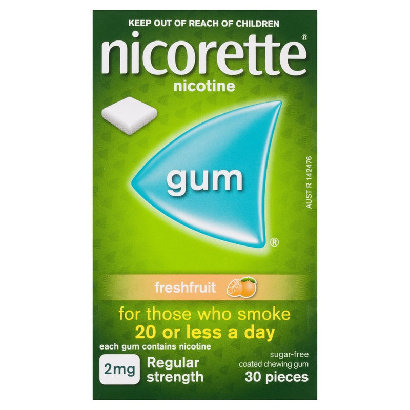 Nicorette Quit Smoking Nicotine Gum Freshfruit 2mg 30 Pack - Vital Pharmacy Supplies