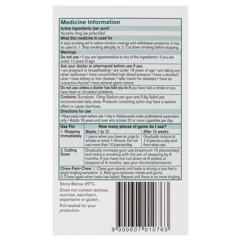 Nicorette Quit Smoking Nicotine Gum Icy Mint 4mg 105 Pack - Vital Pharmacy Supplies