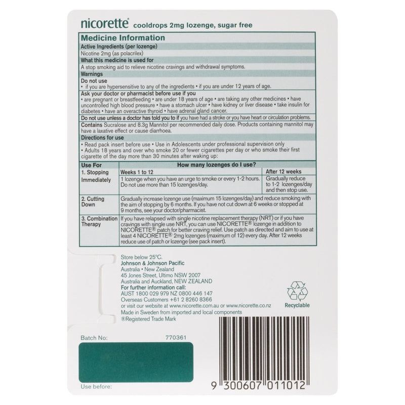 Nicorette Quit Smoking Nicotine Lozenge Icy Mint 2mg 20 Pack - Vital Pharmacy Supplies