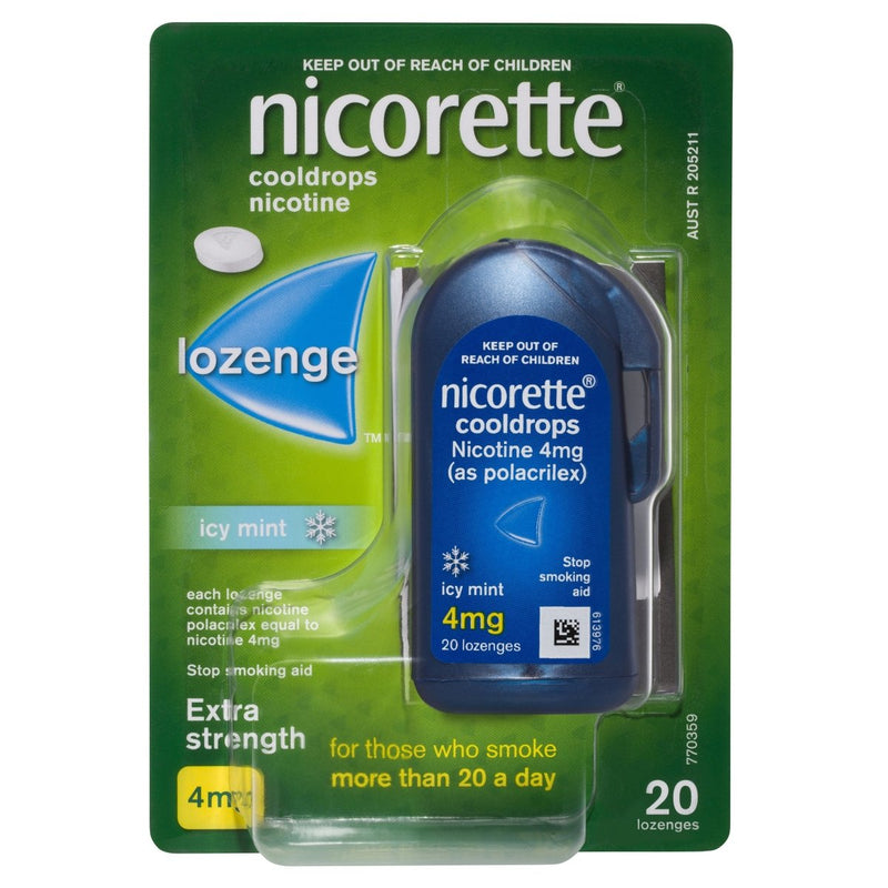 Nicorette Quit Smoking Nicotine Lozenge Icy Mint 4mg 20 Pack - Vital Pharmacy Supplies