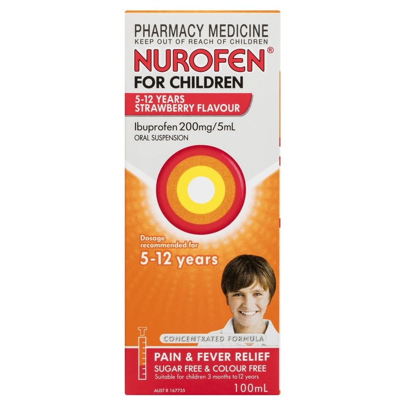 Nurofen for Children 5-12 Years Strawberry 100mL - Vital Pharmacy Supplies
