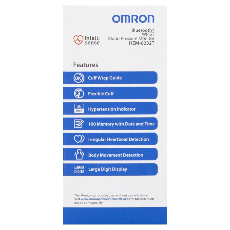Omron HEM6232T Bluetooth Wrist Blood Pressure Monitor - Vital Pharmacy Supplies