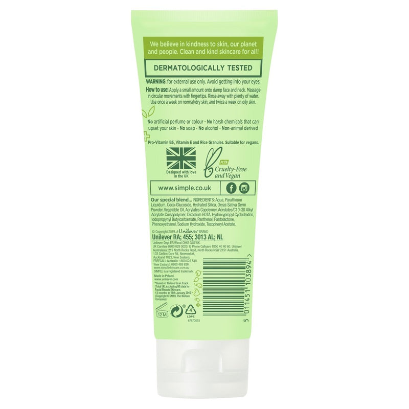 Simple Facial Scrub Smoothing 75mL - Vital Pharmacy Supplies