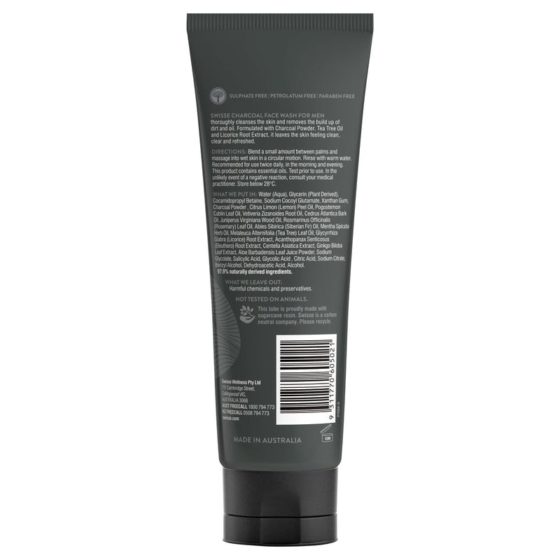 Swisse Charcoal Face Wash for Men 120mL - Vital Pharmacy Supplies