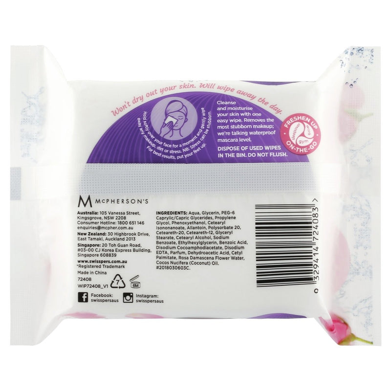 Swisspers Micellar and Rosewater Facial Wipes 25 Pack - Vital Pharmacy Supplies