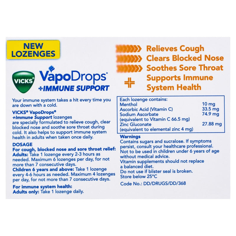 Vicks VapoDrops Immune Support Orange 16 Lozenges - Vital Pharmacy Supplies
