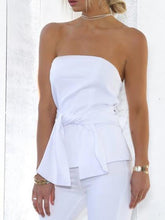 Load image into Gallery viewer, White Bandeau Tie Waist Blouse